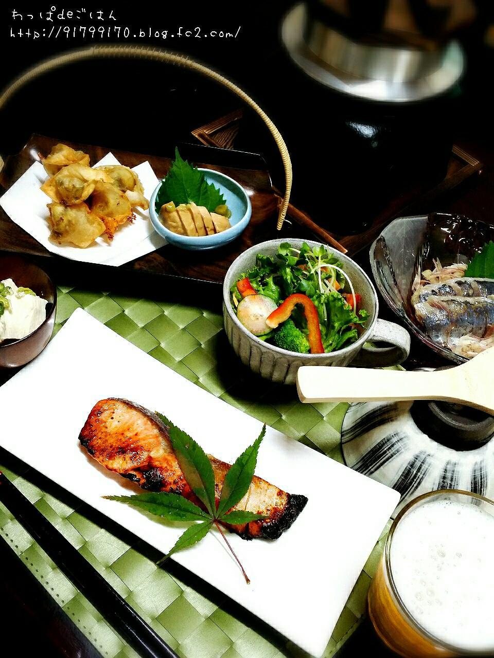 釜飯と鮭の塩麹焼き