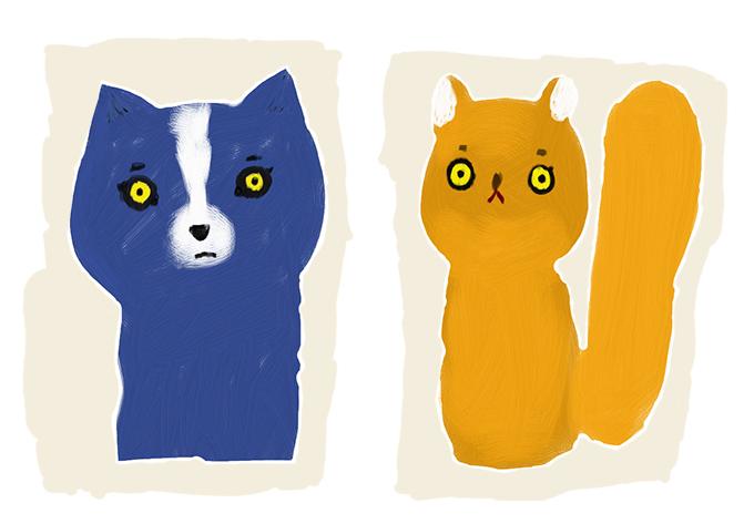 ブルー犬とパンプキンリス