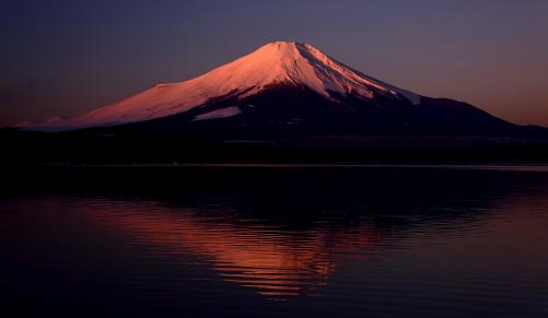 DSC_2385山中湖平野から望む朝焼けの富士