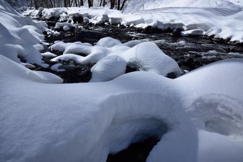 積雪の奈良井川