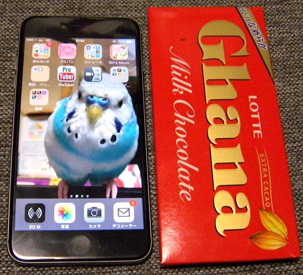 iPhone6plusはガーチョコの箱の大きさとほぼ同じ。