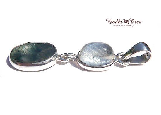 ルチルinブルー・ムーンストーン&グリーンルチル ペンダント 天然石 パワーストーン silver 925 34