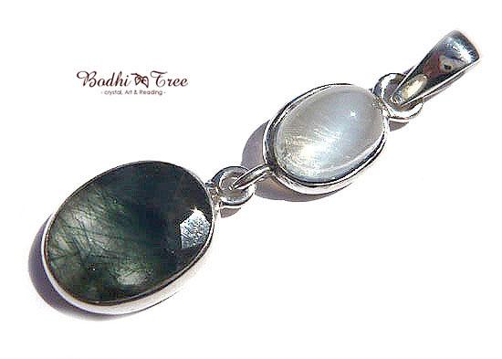 ルチルinブルー・ムーンストーン&グリーンルチル ペンダント 天然石 パワーストーン silver 925 33