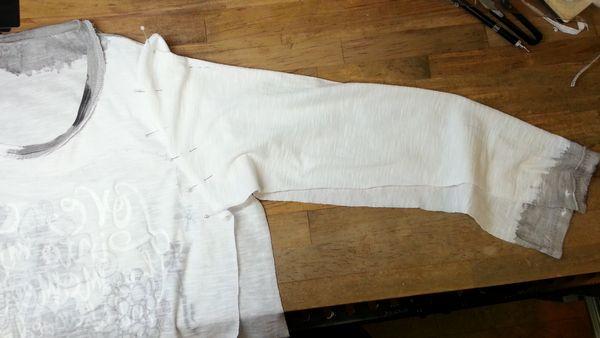 リメイクTシャツ長袖白GRAY⑪