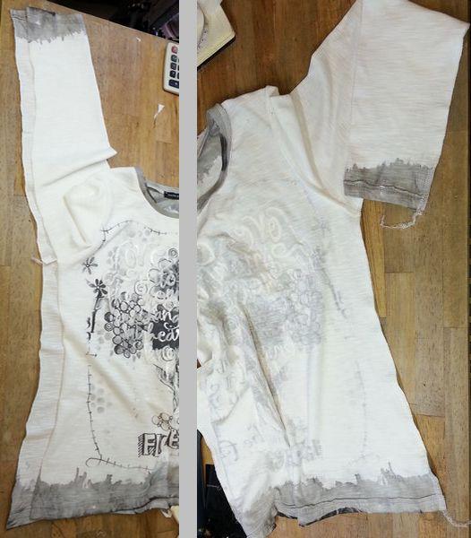 リメイクTシャツ長袖白GRAY⑫