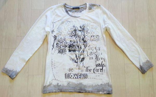 リメイクTシャツ長袖白GRAY⑬