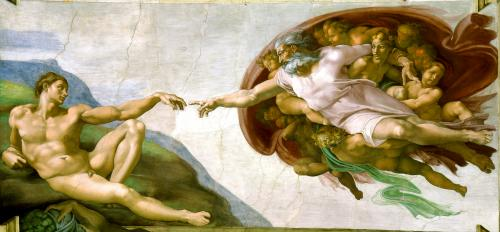 ミケランジェロのアダムの創造(システィーナ礼拝堂)