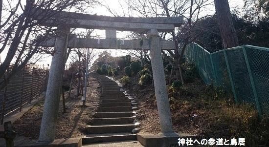 神社への参道と鳥居