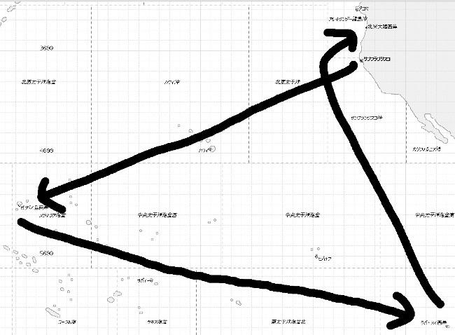 縮小太平洋委任航路図