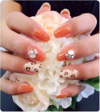 秋ネイル 豹柄×オレンジ