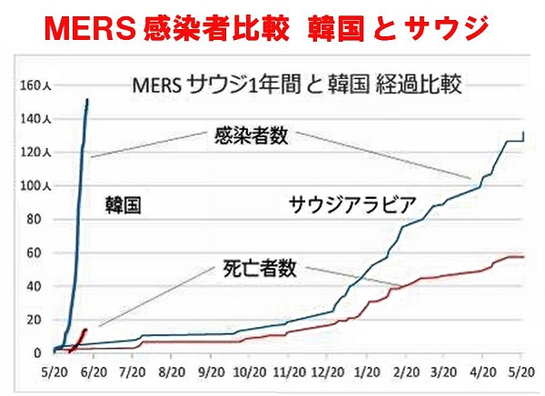 MERS感染者数と死者数マーズ感染拡大 韓国と中東アラブ (感染比較のグラフあり)