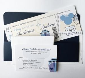 ディズニー結婚式招待状インビテーションパスポート風