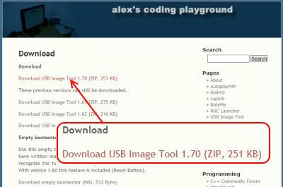 USB Image Tool ダウンロードページ