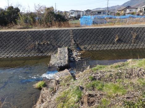 鈴川の取水堰・大場田橋付近
