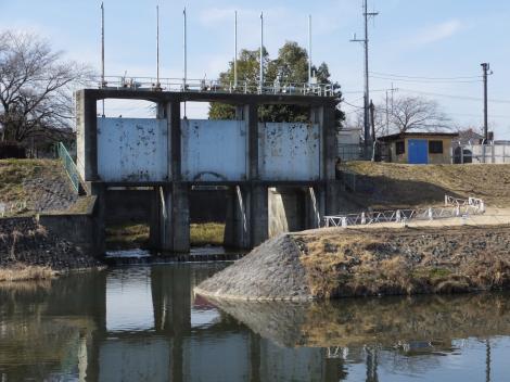 荒川右岸の樋門・新平和橋上流