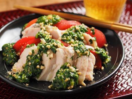 蒸し鶏のぽん酢モロヘイヤソー21