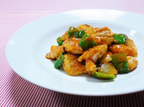 鶏と野菜のナポリタン炒め (480x357)
