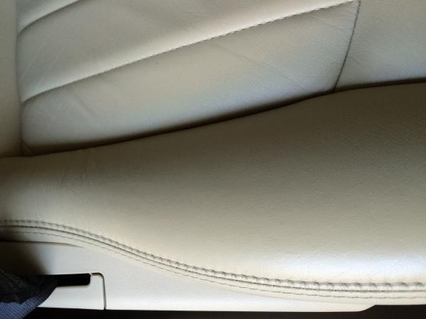 ジャガーXタイプ レザーシート焦げ穴、ひび割れ補修
