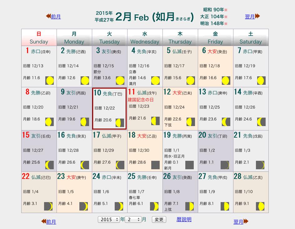2015年2月 月の満ち欠けで知る陰暦