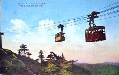 「比叡山空中ケーブル進行」