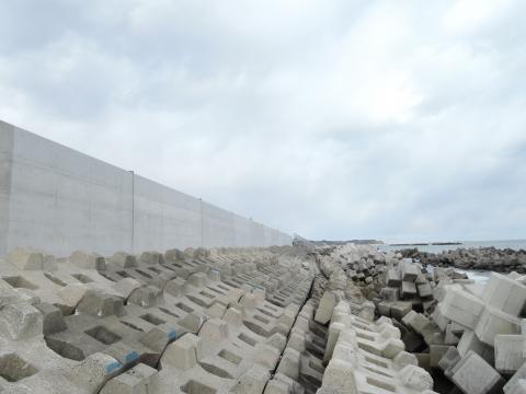 万里の長城を思わせる防潮堤