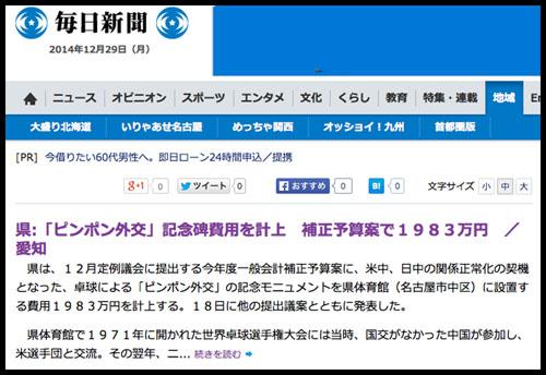ピンポン外交 S 毎日新聞 201401202