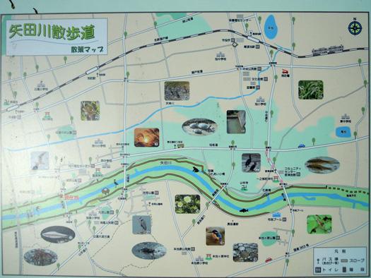 矢田川サイクリングロードのマップ。