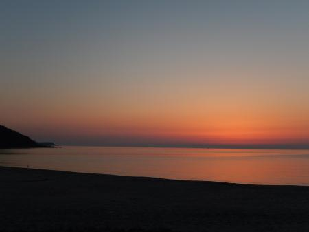 青谷海岸 日没