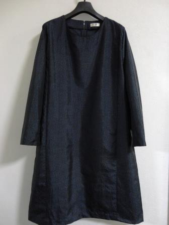 麻の葉織大島紬ワンピース
