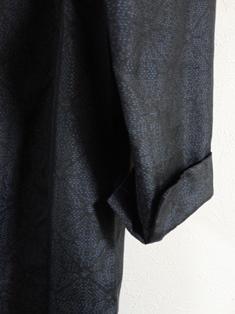 麻の葉織大島紬ワンピース袖