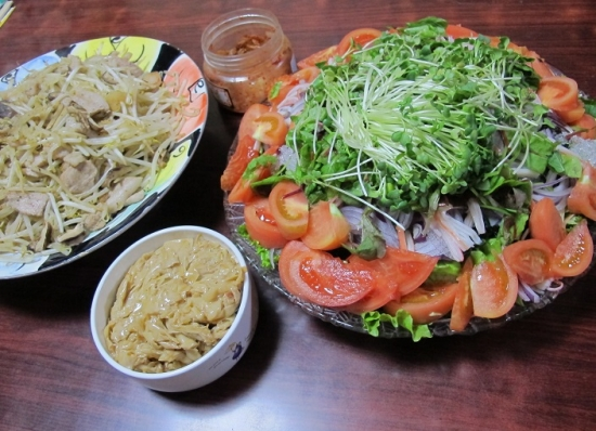 山盛り海草麺サラダ,山盛り豚トロもやし炒め