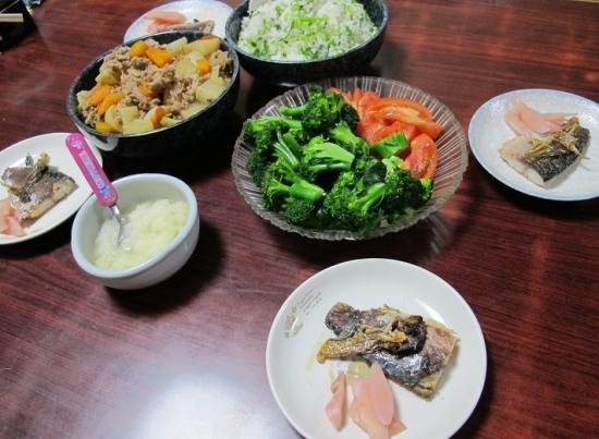 スズナスズシロと豚肉煮,スズ菜飯,塩サバ,岩下の新しょうが