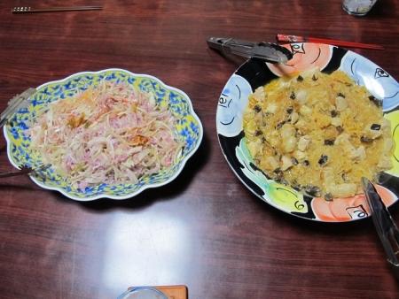 タマネギ紫大根ツナとカニカマサラダ,鶏肉麻婆春雨