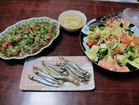 残り煮物コンニャク大量投入ハリハリ鍋風,ししゃも,タマネギと豆腐等のサラダ