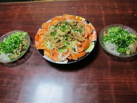 けいちゃんサラダ,マグロとアボカド,しらす干しと桜えび