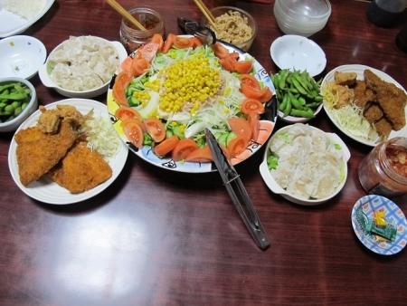 アジフライ,ポテサラツナコーンサラダ,海鮮シウマイ