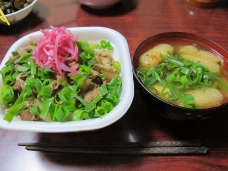 すき家の牛丼,豆腐と油揚げと玉ねぎの味噌汁