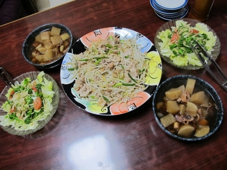 豚もやし,イカと大根の煮物,春野菜サラダ