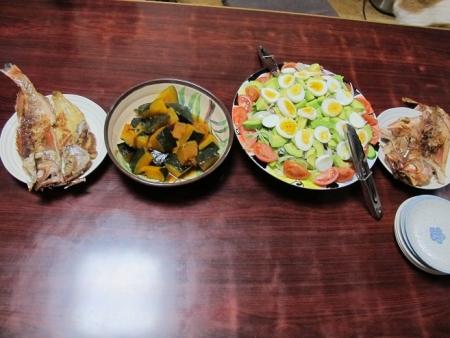 赤魚の開き,コブサラダ風サラダ,カボチャの煮つけ