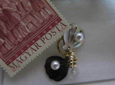 黒蝶貝と本真珠のイヤリング