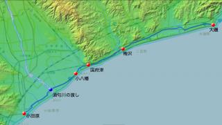 大磯〜小田原間茶屋・渡し場図