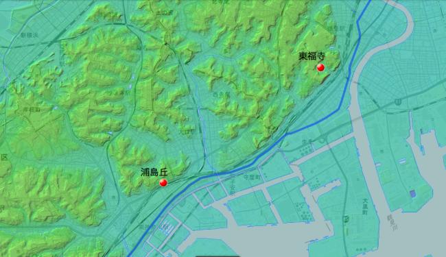 旧東海道と東福寺・浦島寺の位置関係