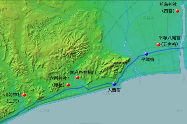 東海道と国府祭関連社・神揃山の位置関係