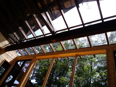 H邸サンルーム施工後内観ガラス屋根