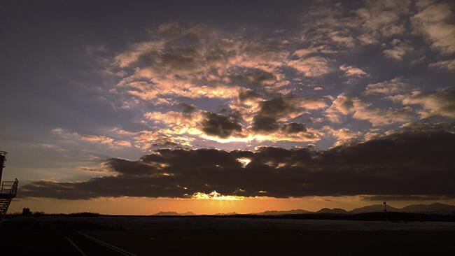 中標津空港の夕焼け