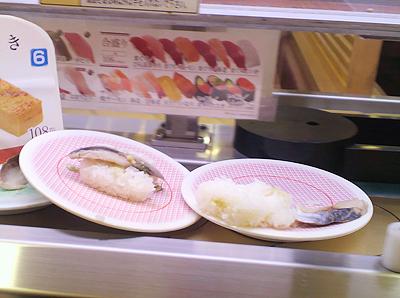 もどされた回転寿司