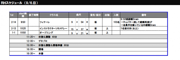 9:6RHスケジュール