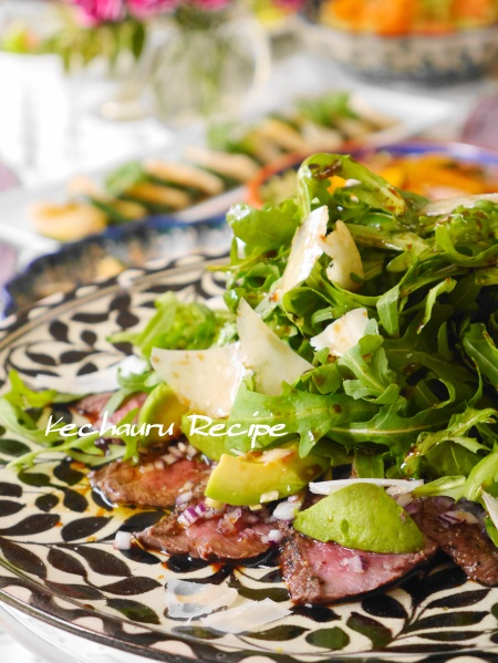 牛ステーキ肉とアボカドのサラダ