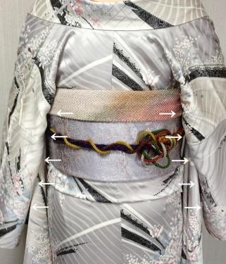 花魁着付け写真:衣紋を抜くことで生じる不都合
