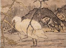 毛利隆元「白鷺図」